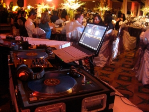 the DJ's set up at a Wedding in Los Angeles