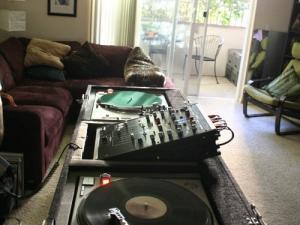 DJ Misha 2007 living room set up in Downtown San Diego
