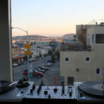 DJ set up with a view in San Francisco, California.